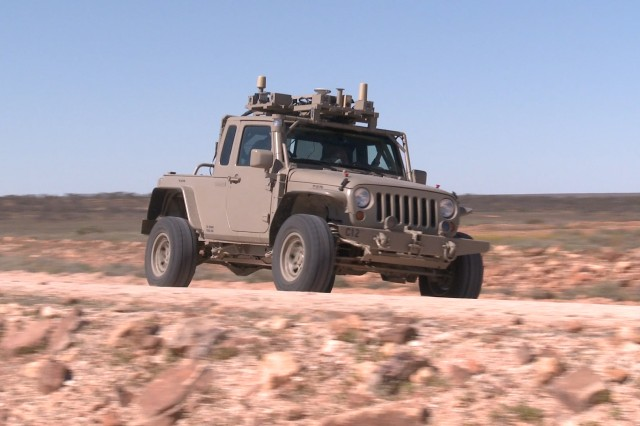 Robotics engineers at U.S. Army Tank Automotive Research, Development and Engineering Center (TARDEC) went to the Woomera Test Range in South Australia to evaluate the resiliency of autonomously driving a Jeep Wrangler Rubicon operated from across the globe by TARDEC engineers in Warren, Mich. Called TORVICE, or Trusted Operation of a Robotic Vehicle in a Contested Environment, this joint program with the Australian Defence Science and Technology Group aims first to establish a baseline for long-distance control of a robotic vehicle. (Photo by Isiah Davenport)