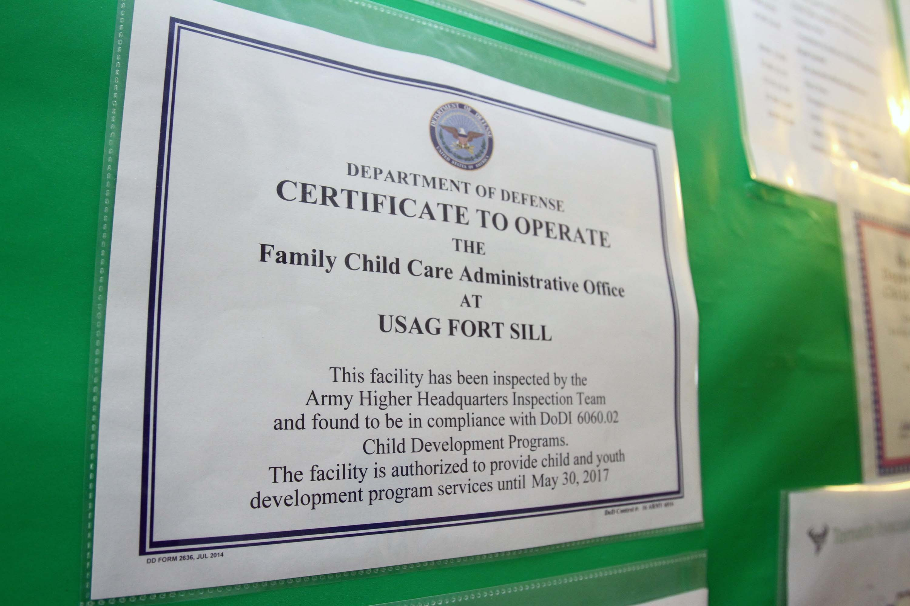 Fort Sill Family Child Care Homes Score 100 Percent Article The
