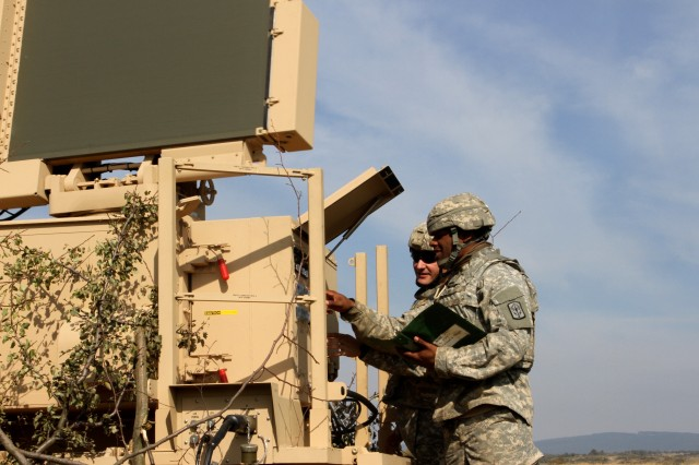 Pfc. Mario Pallandino and Spc. Phillip Herbst, with the 174th Ohio National Guard Air Defense Artillery Brigade check their radar during Tobruq Legacy 16. The 174th ADA BDE serves as a deployable brigade headquarters designed to enhance the current command and control structure in the European Theater while providing the pivotal role of short range air defense for US forces.