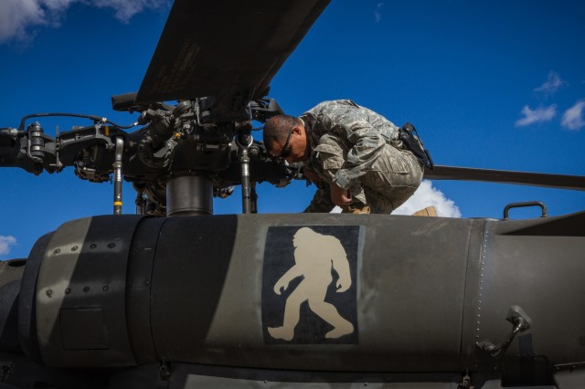 A U.S. Army UH-60 Black Hawk helicopter pilot assigned to 16th Combat Aviation Brigade, 7th Infantry Division conducts preflight checks at Orchard Combat Training Center, Idaho, Oct. 5, 2016. The pilot was preparing to conduct High Altitude Mountain Environmental Training in the nearby Owyhee Mountains to hone skills needed for missions around the world as part of Raptor Fury, a major training exercise bringing together over 1,000 7th ID Soldiers to validate 16th CAB's mission readiness.