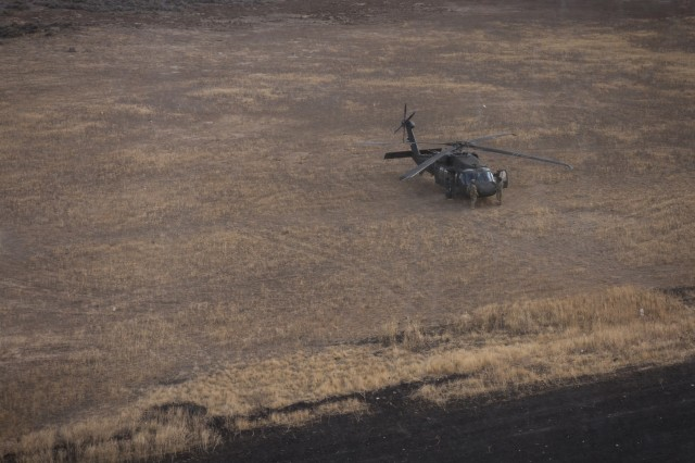 U.S. Army UH-60 Black Hawk helicopter pilots assigned to 2-158th Assault Helicopter Battalion, 16th Combat Aviation Brigade, 7th Infantry Division depart for training at Orchard Combat Training Center, Idaho, Oct. 5, 2016. The pilots were preparing to conduct High Altitude Mountain Environmental Training in the nearby Owyhee Mountains to hone skills needed for missions around the world as part of Raptor Fury, a major training exercise bringing together over 1,000 7th ID Soldiers to validate 16th CAB's mission readiness.