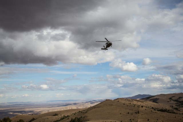 U.S. Army UH-60 Black Hawk helicopter pilots assigned to 2-158th Assault Helicopter Battalion, 16th Combat Aviation Brigade, 7th Infantry Division prepare to land on an 8,000-foot peak at Owyhee Mountains, Idaho, Oct. 5, 2016. The pilots were conducting High Altitude Mountain Environmental Training to hone skills needed for missions around the world as part of Raptor Fury, a major training exercise bringing together over 1,000 7th ID Soldiers to validate 16th CAB's mission readiness.