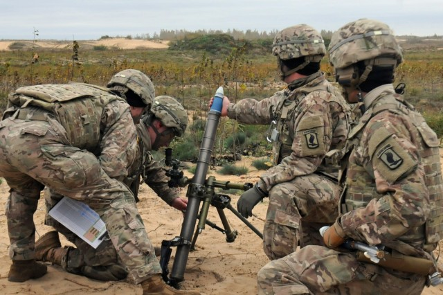 "Paratroopers from Able Company, 2nd Battalion, 503rd Infantry Regiment, 173rd Airborne Brigade, prepare to fire a M224 60mm mortar Oct. 4 at an abandoned airfield near Rukla, Lithuania. Once the target has been acquired, the assistant gunner grips the mortar round with his fingers and palm, keeping his thumb out of the way to prevent injury. On the command, ""Hang it"", he will place the mortar half way in the firing tube. Upon hearing the command, ""Fire"" he will drop the round, and stroke the tube as he brings his hand down, while simultaneously bending over and touching his head to the knee farthest from the tube."