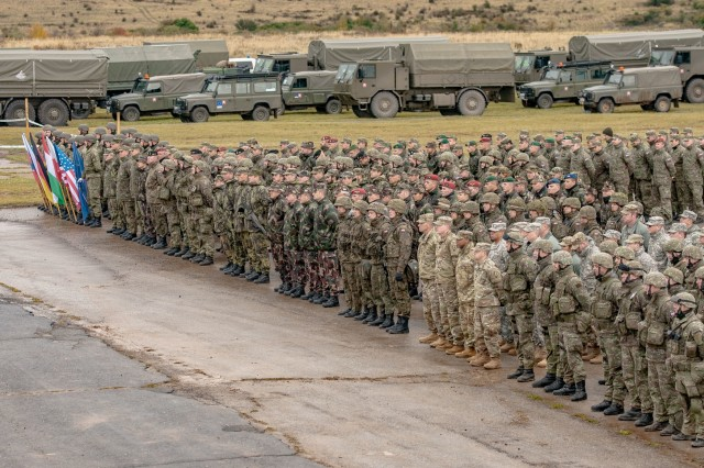 U.S. Army Soldiers, Armed Forces of the Slovak Republic, Czech Army, Polish Armed Forces and Hungarian Defense Forces soldiers stand in formation during the Slovak Shield 2016 opening ceremony Oct. 6, 2016 at Military Training Area Lest, Slovak Republic.