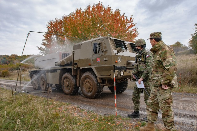 Lt. Col. Todd Baker, officer in charge of Indiana Guardsmen observes combined chemical training during Slovak Shield 2016 Oct. 9, 2016 at Military Training Area Lest, Slovak Rep. Key leadership seeing the hands-on interoperability of joint force units training side by side is important to the success of future exercises.