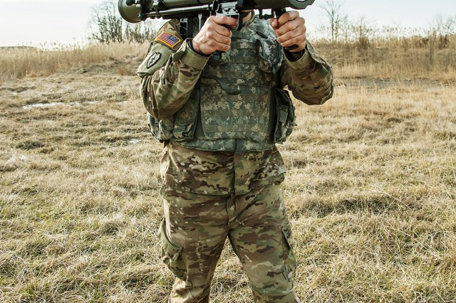 A Soldier tests the M3E1 Multi-role Anti-armor Anti-personnel Weapon System.