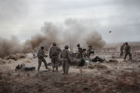 U.S. Army Soldiers assigned to 1st Battalion, 37th Field Artillery Regiment, 2nd Infantry Division Artillery, 7th Infantry Division, fire an M777 towed 155 mm howitzer at Orchard Combat Training Center, Idaho, Oct. 10, 2016. The Soldiers are part of a task force of over 1,000 7th ID Soldiers participating in Raptor Fury, a major training exercise to validate 16th Combat Aviation Brigade's mission readiness.