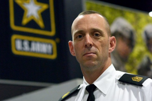 Sgt. Maj. Jesse Potter, the operations sergeant major for the 780th Military Intelligence Brigade, attends the Association of the U.S. Army Annual Meeting and Exposition in Washington, D.C., Oct. 3, 2016.