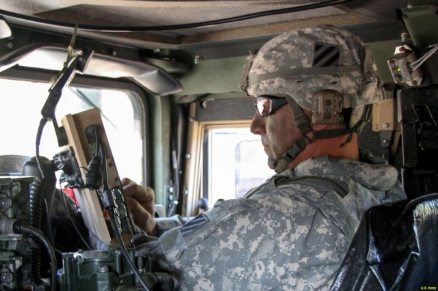 Soldiers rely on in-vehicle GPS systems for Positioning, Navigation, and Timing, or PNT, information.  CERDEC GPS-aiding technologies such as Mounted PNT integrate multiple sensors to delivered assured PNT. (U.S. Army Photo).