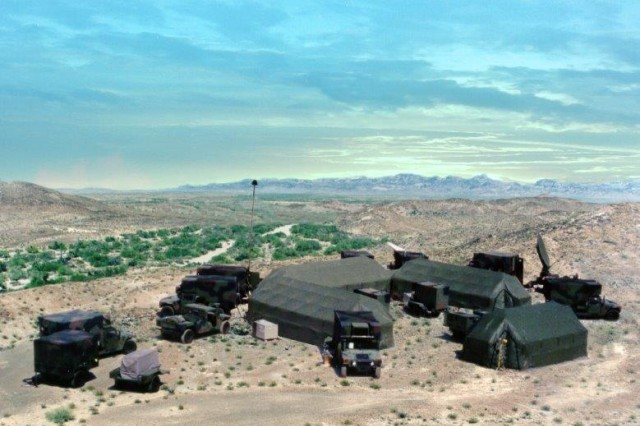 The Army Space Program Office's Tactical Exploitation System deployed during desert exercises.