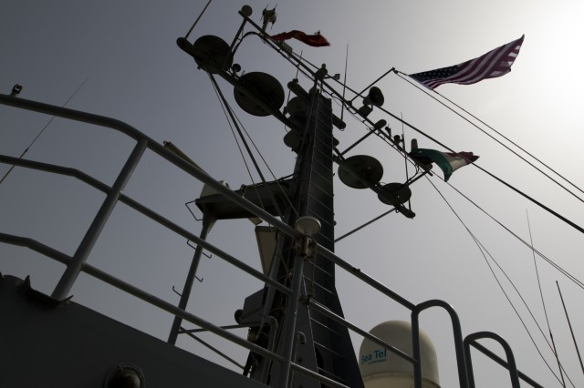The MG Charles P. Gross sails in the Arabian Gulf to travel to international waters for weapons training, Oct. 3, 2016.