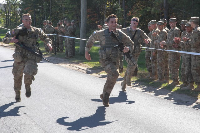 Rangers race to the finish of the 60-hour assessment course Thursday during Fort Drum's Best Ranger Selection Competition.