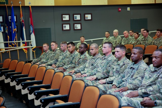Soldiers in the 194th Armored Brigade gathered for the awards ceremony, October 6 in Long Hall following the Best Warrior Competition.