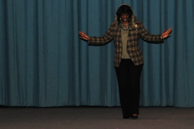 """Mildred Muhammad speaks on the topic of domestic violence during her presentation of """"Mildred Muhammad: Scared Silent,"""" at the post theater Oct. 5."""