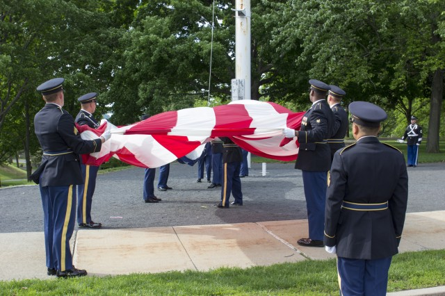 United States Army Garrison West Point Military Company Soldiers retire the National Colors for the day at the Memorial Day Ceremony, May 30, 2016 (U.S. Army photo by Thomas B. Hamilton III, USAG West Point, Public Affairs/released.)