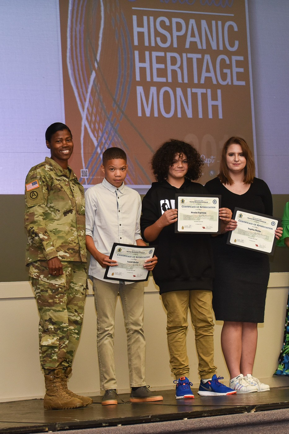 fort knox community celebrates national hispanic heritage month certificates of appreciation for writing winning essays in a competition highlighting the accomplishments and contributions of hispanic americans