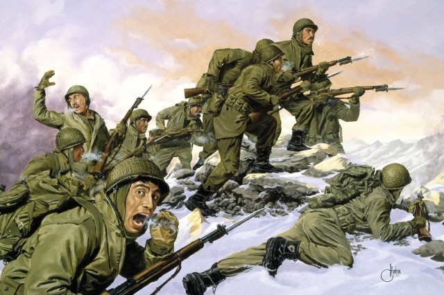 "The illustration depicts Puerto Rico's 65th Infantry Regiment, nicknamed ""The Borinqueneers"" in South Korea, Feb. 2, 1951."