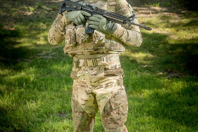 Engineers and designers at the Natick Soldier Research, Development and Engineering Center, or NSRDEC, have patented a blast debris protective harness. The harness is worn outside the pants and hugs the body without hindering movement.