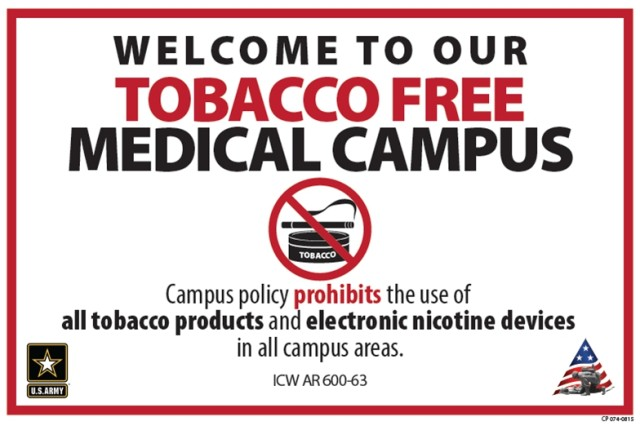 Tripler Army Medical Center, also known as TAMC, has added a tobacco-free living dimension to the current medical command order of establishing a tobacco-free campus.  The image is the new sign that will be posted around the TAMC campus.