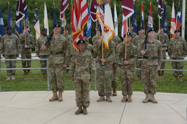 Command Sgt. Maj. Tabitha Gavia formally assumes responsibility as the Regional Health Command - Central command sergeant major during the change of responsibility ceremony at Joint Base San Antonio - Fort Sam Houston Oct. 7.