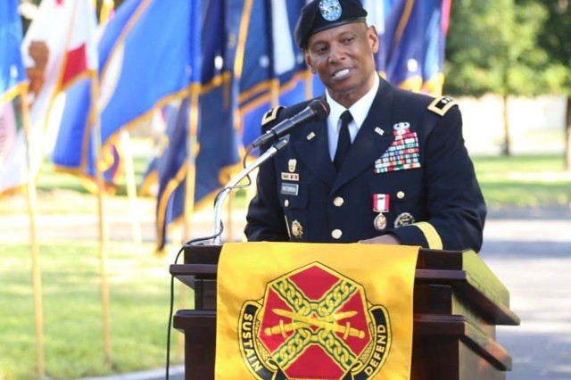 MG LaWarren V. Patterson shares a moment of memory and acknowledges those who've inspired him throughout his career at his retirement ceremony at the quadrangle, Fort Sam Houston. (U.S. Army photo by Rob Dozier.)