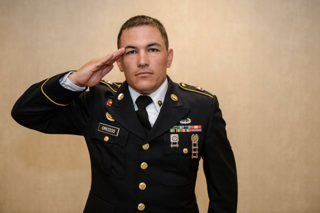 U.S. Army Spc. Michael S. Orozco renders a salute during the 2016 Best Warrior Competition Board for Soldier of the Year at the Pentagon Conference Center, in Arlington, Va., Sept. 30, 2016. (U.S. Army photo by Sgt. Alicia Brand/Released).