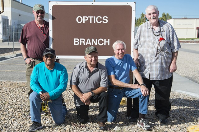 Five Optics Branch employees who have retired, or plan to retire by 2018 from Dugway Proving Ground, Utah, will leave with a total of 204 years of service. Left to right: Dean Shultz, Charles Hobson, Mario Sandoval, Jim Robertson and Jim Yale. Photo by Crystal Bowen, Dugway Optics