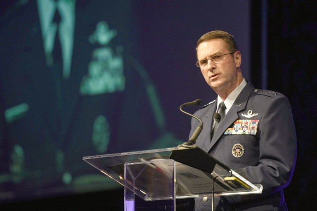 Air Force Gen. Joseph Lengyel, chief, National Guard Bureau, addresses the North American International Cyber Summit 2016, Detroit, Michigan, Oct. 17, 2016. Hosted by Mchigan Gov. Rick Snyder, the summit is a collaborative effort with the National Governors Association, the Department of Homeland Security, private industry, educators, students and local partners that started in 2011.