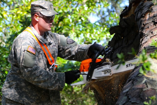 Soldiers of the Ga. National Guard's 877th Engineer Company conduct Hurricane Matthew debris removal operations south east of Savannah.