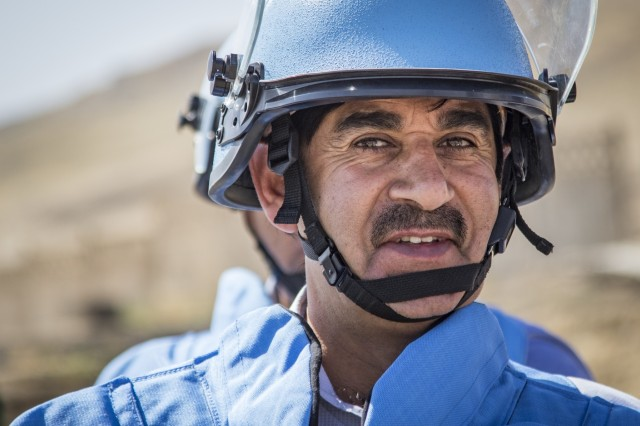 An Afghani student enrolled in the Humanitarian Mine Action training course participates in a practical exercise on Improvised Explosive Device awareness and recognition Sept.29, 2016 in Tajikistan. U.S. Army Soldiers, in support of U.S. Army Central, certified 39 participants from Tajikistan, Kazakhstan, Kyrgyzstan, Afghanistan and Armenia on explosive hazard mitigation in accordance with the International Mine Action Standard.