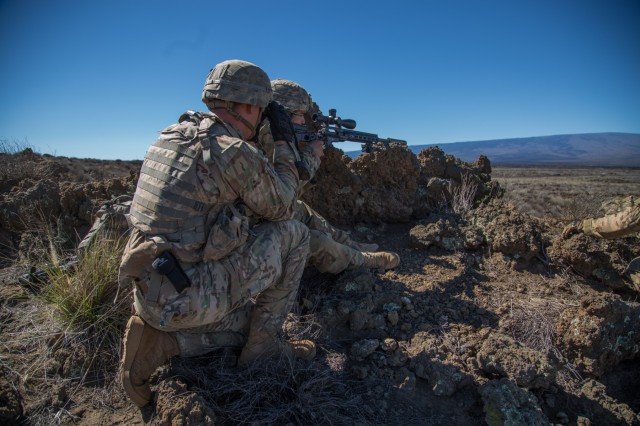 Scout teams assigned to Headquarters and Headquarters Company, 2nd Battalion, 27th Infantry Regiment, 3rd Brigade Combat Team, 25th Infantry Division were implemented and placed with the support by fire positions during the combine arms live fire exercise (CALFEX) at the Pohakuloa Training Area, Hawaii, on July 28, 2016. U.S. and Singapore Armed Forces troops trained together during the bilateral exercise Tiger Balm 16. (U.S. Army photo by Spc. Patrick Kirby, 3rd Brigade Combat Team, 25th Infantry Division)