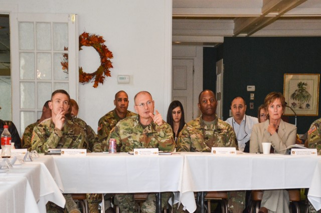 Maj. Gen. Edward M. Daly (center) makes a point during the quarterly meeting of the Rock Island Arsenal Community Health Promotion Council, held Oct. 20.