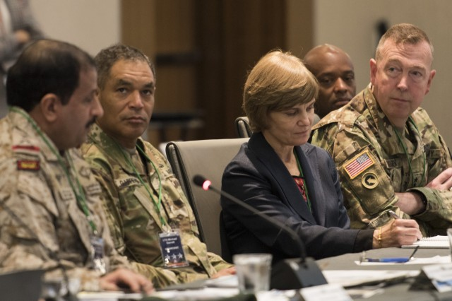 Lt. Gen. Eid Bin Al-Shalawi, Royal Saudi Land Forces commander (left) provides opening comments while Lt. Gen. Michael Garrett, U.S. Army Central commander, Ann Cataldo, Deputy Assistant Secretary of the Army for Defense Exports and Cooperation, and Maj. Gen. Stephen Farmen, commander of the U.S. Army Security Assistance Command, listen during the 3rd annual U.S. and Saudi Grand Security Assistance Review held in Washington, D.C. Oct. 16-21.