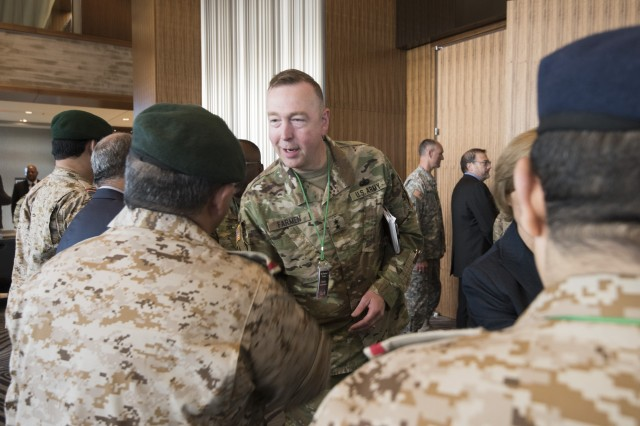 U.S. Army Security Assistance Command's Maj. Gen. Stephen Farmen greets officers from the Royal Saudi Land Forces at the 3rd annual U.S. and Saudi Grand Security Assistance Review held in Washington, D.C. Oct. 16-21.