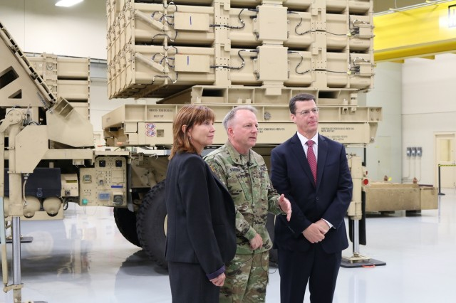 From left are Rebecca Weirick, executive director of the Army Contracting Command-Redstone; Maj. Gen. Doug Gabram, commander of the Aviation and Missile Command; and James Lackey, director of the Aviation and Missile Research, Development and Engineering Center.