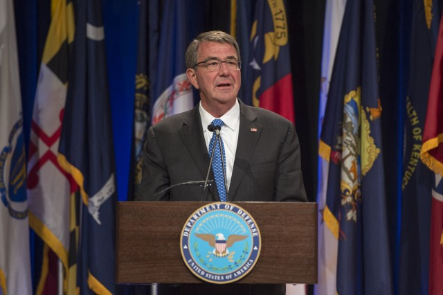 Secretary of Defense Ash Carter speak at the Pentagon in Washington, D.C.