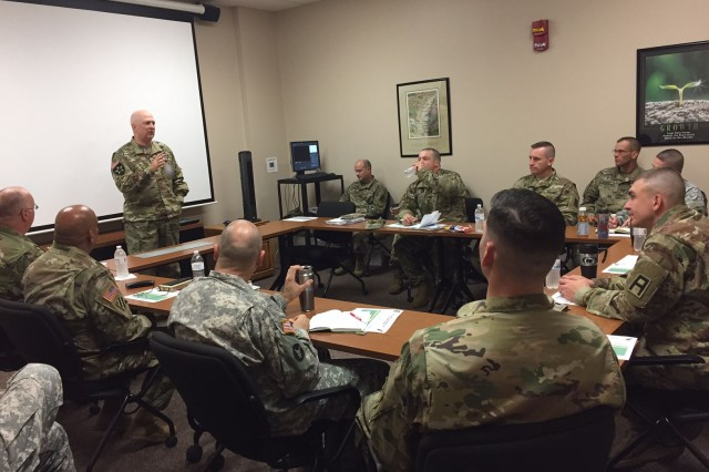 Col. Jeffrey Zust, First Army Chaplain, gives his opening remarks to the Unit Ministry Teams during the First Army Fall Unit Ministry Team Development Training at Rock Island Arsenal, Ill., Oct. 17, 2016. Zust encouraged the UMT members to share lessons learned with each other to enhance the training and produce a more cohesive ministry team that not only provides religious support to First Army Soldiers and families, but acts as observer coach/trainers for Army Reserve and Army National Guard units preparing for deployments. (Photo by Vannessa L. Josey, First Army Public Affairs)