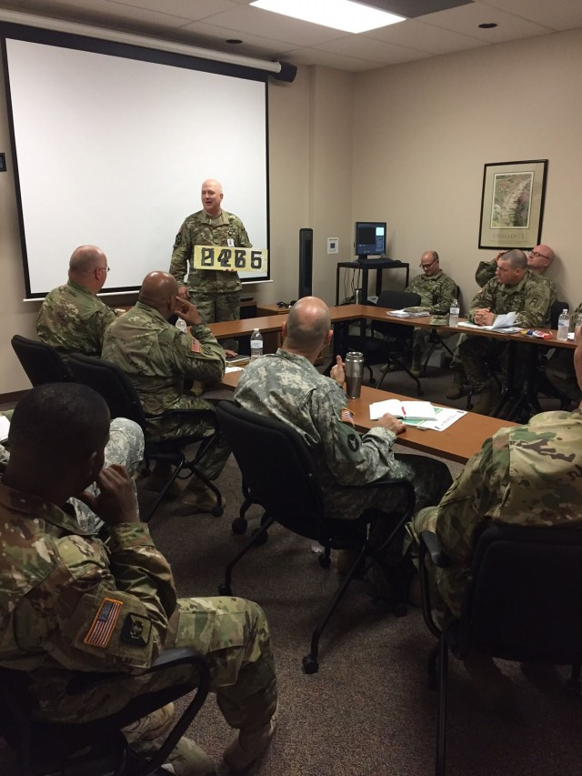 Col. Jeffrey Zust, First Army Chaplain, gives his opening remarks to the Unit Ministry Teams during the First Army Fall Unit Ministry Team Development Training at Rock Island Arsenal, Ill., Oct. 17, 2