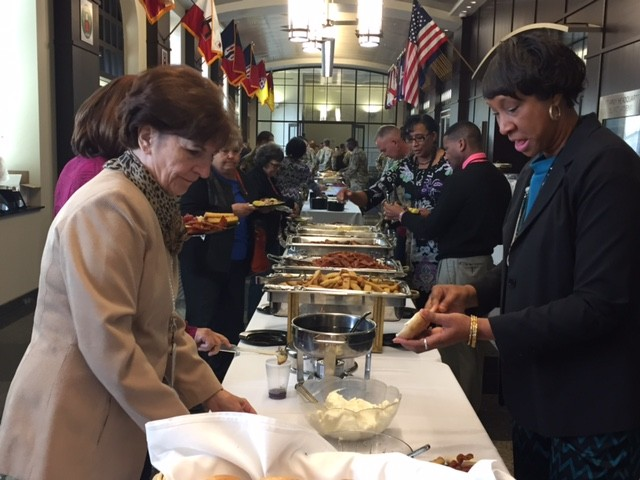 First Army Soldiers and Civilians enjoy the Prayer Breakfast hosted during Unit Ministry Development Training held at First Army headquarters at Rock Island Arsenal, Illinois Oct. 17-20.