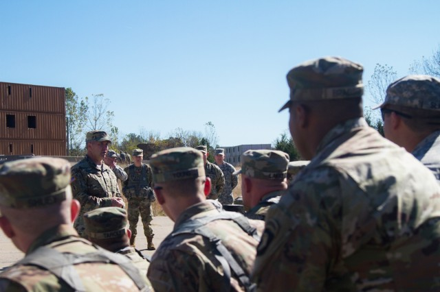 "Brig. Gen. Scott Brower, acting senior commander for the 101st Airborne Division (Air Assault), speaks with the Soldiers of 2123rd Transportation Company, Oct. 22, 2016, after the patching ceremony on Fort Knox, Ky. about future training and partnership between the company and the 101st Abn. Div. Sustainment Brigade ""Lifeliners,"" 101st Abn. Div."