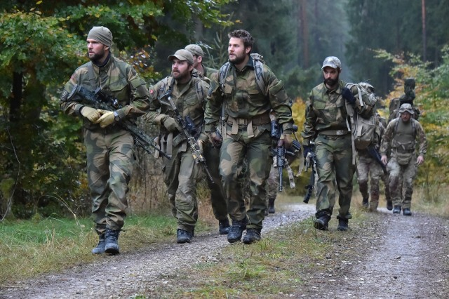 Norwegian soldiers arrive at the Land Navigation lane during the European Best Sniper Squad Competition at the 7th Army Training Commandâs, Grafenwoehr Training Area, Bavaria, Germany, Oct. 25, 2016. The European Best Sniper Squad Competition is an Army Europe competition challenging militaries from across Europe to compete and enhance teamwork with Allies and partner nations. (U.S. Army photo by Visual Information Specialist Gertrud Zach)