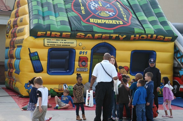 The Camp Humphreys Fire Department's Fire Safety bouncy house provided a fun and educational experience for the students who passed through it.