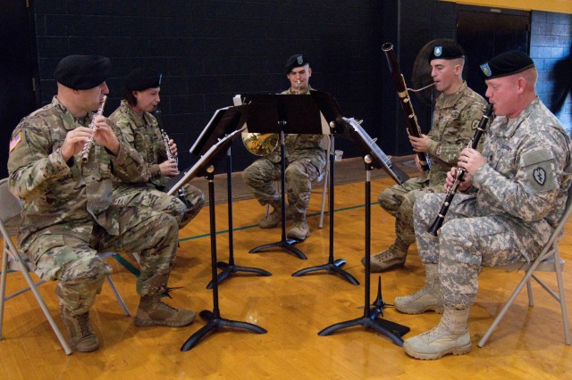 SCHOFIELD BARRACKS ⎯ The 25th Infantry Division Woodwind Quintet performs during the Uncasing and Re-Stationing Ceremony at Martinez Physical Fitness Center aboard Schofield Barracks, Oct. 25, 2016. (U.S. Army photo by Kristen Wong)
