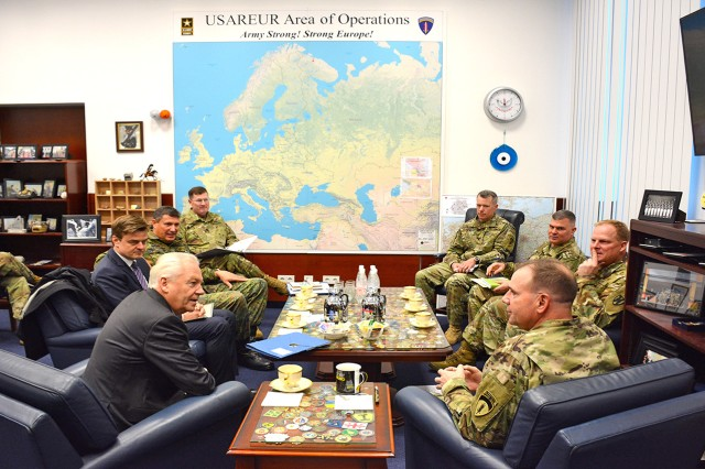 Lt. Gen. Ben Hodges and staff sit and discuss rail support of US Army Europe with Deutsche Bahn and DB Cargo CEOs, Dr. Ruediger Grube (left) and Dr. Juergen Wilder (far left).