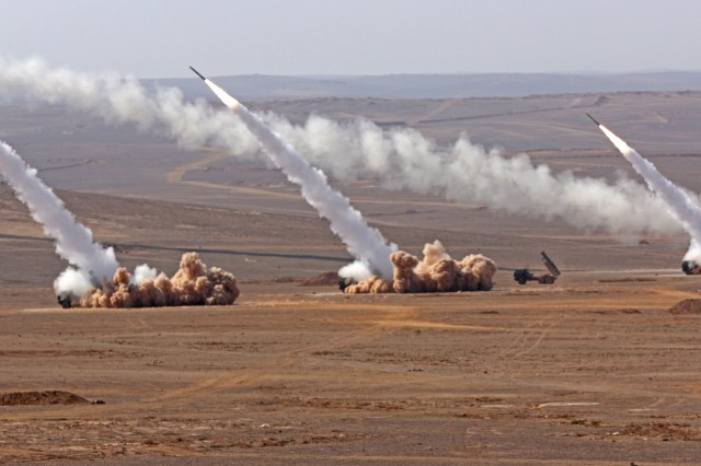 Soldiers from the Jordanian Army's 29th Royal HIMARS Battalion and the U.S. Army's 3rd Battalion, 321st Field Artillery Regiment conduct a live-fire exercise October. The two nations continue to partner to ensure interoperability.