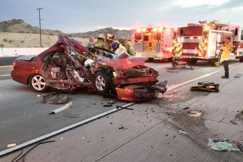 Fort Irwin Soldiers interrupt evening commute to save a life
