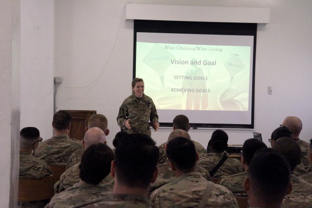 Capt. Hillary Klug, legal officer, 1st Cavalry Division Resolute Support Sustainment Brigade (1CD RSSB), spoke to soldiers during a Wise Choice Wise Living Seminar at Bagram Airfield, Afghanistan, October 28. Wise Choices Wise Living is both a Resiliency training class and a Moral Leadership training class that will enable soldiers to make decisions and choices concerning their actions based on a simple criteria— Is this wise based on my past experience, my current situation, or my future hopes, dreams and goals.