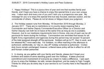 2016 Commander's Holiday Leave and Pass Guidance
