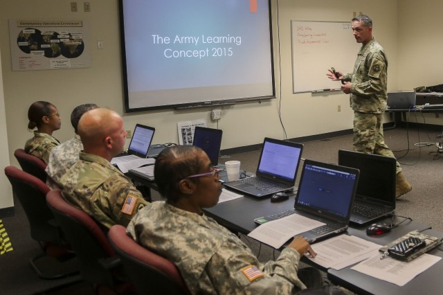 Representing Regional Training Site-Maintenance Devens, Sgt. 1st Class Kevin Hiles teaches a class during the 80th Training Command's 2016 Instructor of the Year competition at Fort Knox, Ky., Oct. 22, 2016.