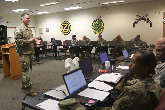 Sgt. 1st Class Kevin Hiles teaches a class as part of the 80th Training Command's 2016 Instructor of the Year competition at Fort Knox, Ky., Oct. 22, 2016.